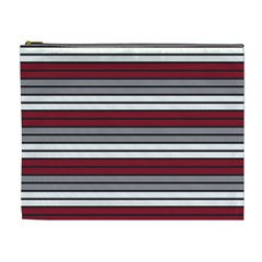 Fabric Line Red Grey White Wave Cosmetic Bag (XL)