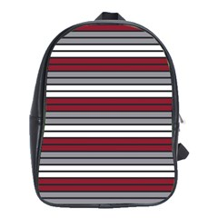 Fabric Line Red Grey White Wave School Bags(Large)