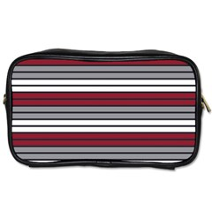 Fabric Line Red Grey White Wave Toiletries Bags 2-Side