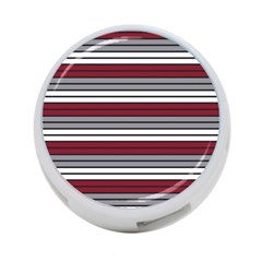 Fabric Line Red Grey White Wave 4 Port Usb Hub (two Sides)