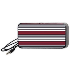 Fabric Line Red Grey White Wave Portable Speaker (Black)