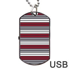 Fabric Line Red Grey White Wave Dog Tag USB Flash (Two Sides)