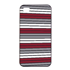 Fabric Line Red Grey White Wave Apple iPhone 4/4s Seamless Case (Black)