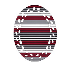Fabric Line Red Grey White Wave Oval Filigree Ornament (Two Sides)