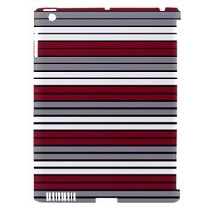 Fabric Line Red Grey White Wave Apple Ipad 3/4 Hardshell Case (compatible With Smart Cover)