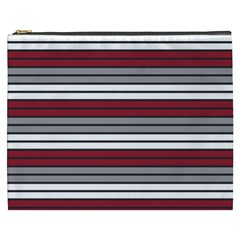 Fabric Line Red Grey White Wave Cosmetic Bag (XXXL)