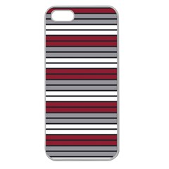 Fabric Line Red Grey White Wave Apple Seamless iPhone 5 Case (Clear)