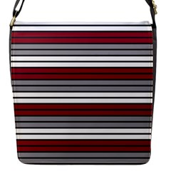 Fabric Line Red Grey White Wave Flap Messenger Bag (S)