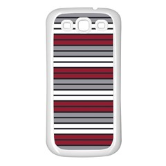 Fabric Line Red Grey White Wave Samsung Galaxy S3 Back Case (White)