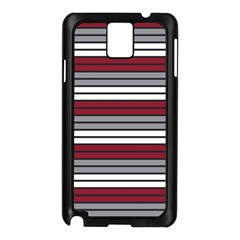Fabric Line Red Grey White Wave Samsung Galaxy Note 3 N9005 Case (Black)