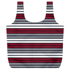 Fabric Line Red Grey White Wave Full Print Recycle Bags (L)