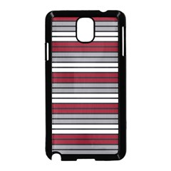 Fabric Line Red Grey White Wave Samsung Galaxy Note 3 Neo Hardshell Case (Black)