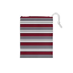 Fabric Line Red Grey White Wave Drawstring Pouches (Small)