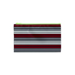 Fabric Line Red Grey White Wave Cosmetic Bag (XS)