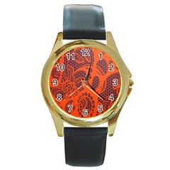 Enlarge Orange Purple Round Gold Metal Watch