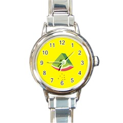 Fruit Melon Sweet Yellow Green White Red Round Italian Charm Watch