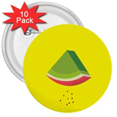 Fruit Melon Sweet Yellow Green White Red 3  Buttons (10 Pack)
