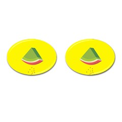 Fruit Melon Sweet Yellow Green White Red Cufflinks (oval)