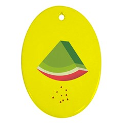 Fruit Melon Sweet Yellow Green White Red Oval Ornament (Two Sides)