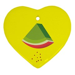 Fruit Melon Sweet Yellow Green White Red Heart Ornament (two Sides)