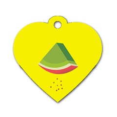 Fruit Melon Sweet Yellow Green White Red Dog Tag Heart (one Side)