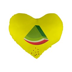 Fruit Melon Sweet Yellow Green White Red Standard 16  Premium Heart Shape Cushions
