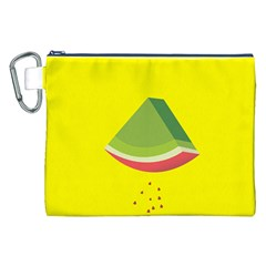 Fruit Melon Sweet Yellow Green White Red Canvas Cosmetic Bag (XXL)
