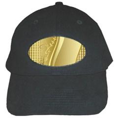 Golden Wave Floral Leaf Circle Black Cap