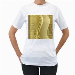 Golden Wave Floral Leaf Circle Women s T-Shirt (White) (Two Sided)