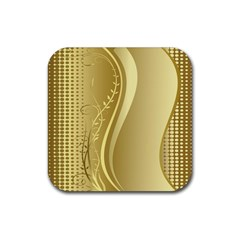 Golden Wave Floral Leaf Circle Rubber Square Coaster (4 Pack)