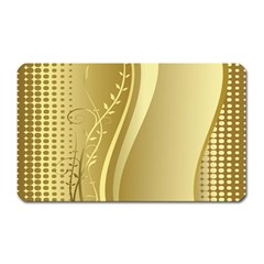 Golden Wave Floral Leaf Circle Magnet (Rectangular)