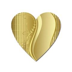 Golden Wave Floral Leaf Circle Heart Magnet