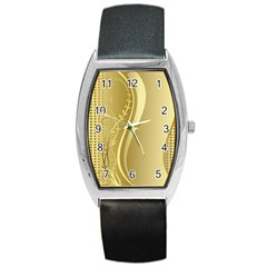 Golden Wave Floral Leaf Circle Barrel Style Metal Watch