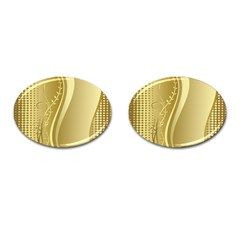 Golden Wave Floral Leaf Circle Cufflinks (Oval)