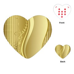 Golden Wave Floral Leaf Circle Playing Cards (Heart)