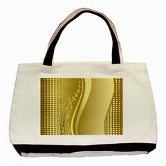 Golden Wave Floral Leaf Circle Basic Tote Bag (two Sides)