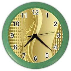Golden Wave Floral Leaf Circle Color Wall Clocks