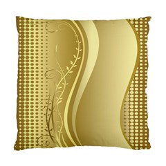 Golden Wave Floral Leaf Circle Standard Cushion Case (Two Sides)