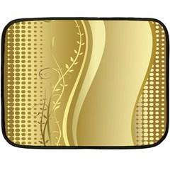 Golden Wave Floral Leaf Circle Fleece Blanket (Mini)