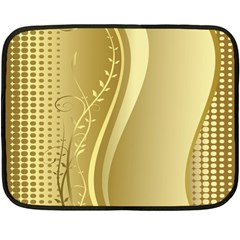 Golden Wave Floral Leaf Circle Double Sided Fleece Blanket (Mini)