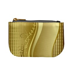 Golden Wave Floral Leaf Circle Mini Coin Purses