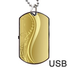Golden Wave Floral Leaf Circle Dog Tag USB Flash (One Side)