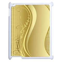 Golden Wave Floral Leaf Circle Apple Ipad 2 Case (white)
