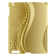 Golden Wave Floral Leaf Circle Apple iPad 3/4 Hardshell Case