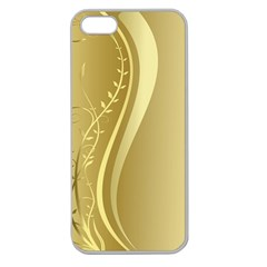 Golden Wave Floral Leaf Circle Apple Seamless iPhone 5 Case (Clear)