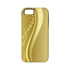 Golden Wave Floral Leaf Circle Apple iPhone 5 Classic Hardshell Case (PC+Silicone)