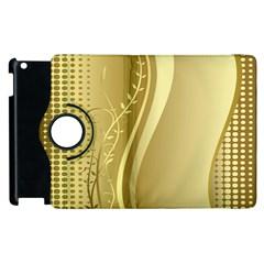 Golden Wave Floral Leaf Circle Apple iPad 2 Flip 360 Case