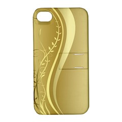 Golden Wave Floral Leaf Circle Apple Iphone 4/4s Hardshell Case With Stand