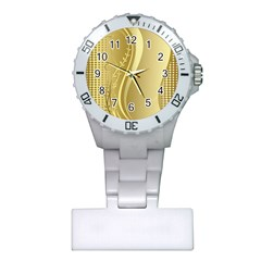 Golden Wave Floral Leaf Circle Plastic Nurses Watch