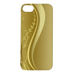 Golden Wave Floral Leaf Circle Apple iPhone 5S/ SE Hardshell Case